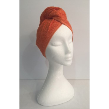 Twist Up Terry Hair Wrap - Orange